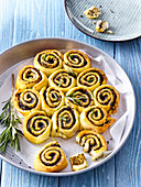 Dough rolls with tapenade and rosemary