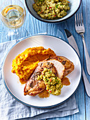Chicken breast with olive tapenade and pumpkin mash