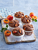 Chocolate muffins with apricots