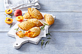 Apricot pastries with coconut cream
