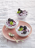Marble blueberry mousse