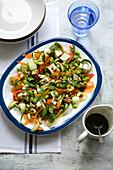 Raw Pad Thai Salad with spirulina dressing