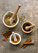 Spices with 3 pestle and mortar