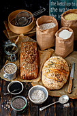 Homemade breads with seeds and kernels
