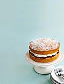 Simple sponge cake with whipped cream and jam