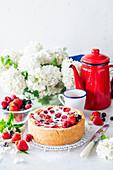 Sommerliche Beeren-Sauerrahm-Torte