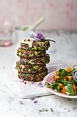 Zucchini fritters with sweet potato salad