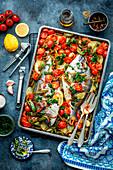 Seabream bake with veggies