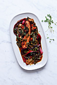 Swiss chard with bacon and tomato