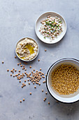 Chickpea salad and hummus
