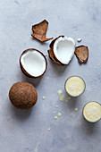 Coconut smoothies and coconuts