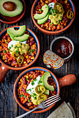 Vegetarian chilli with lentils and red kidney beans