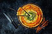 Spiral vegetable quiche