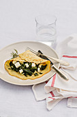 Popeye pancakes with spinach and feta