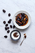 Poached prunes and prune cream