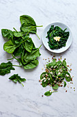 Spinach salad and cooked spinach