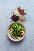 Quinoa salad with edamame and fresh goat cheese