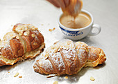 Almond croissant with coffee