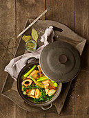 Broth made from vegetables and marrowbones