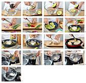 Preparing avocado spread with poached egg