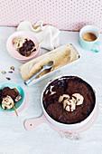 Chocolate self-saucing pudding with no-churn ice-cream