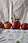 Äpfel auf Leinendecke