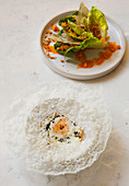 Chinese style crispy egg poppa and salad
