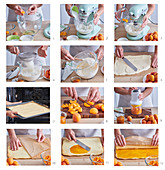 Baking apricot cake with jelly
