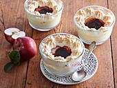 Baked apples in cream with meringue cap