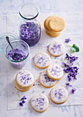 Butter cookies with violets and sugar