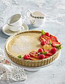 Zucchini cake with strawberries
