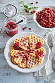 Waffers with wild strawberry jam