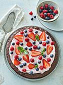 Fruit brownie pizza