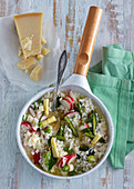 Asparagus and spinach risotto with radish and parmesan