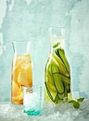 Ice tea Lemon, basil and cucumber and Ice tea Peach and ginger
