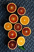 Orange and blood orange halves
