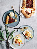 Fruit mince crostata and Macadamia parfait with poached Pineapple