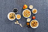 Porridge variations with different fruits