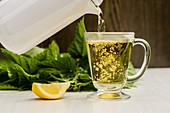 Nettle tea with lemon is poured into a glass cup