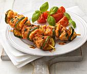 Chicken, prawn and vegetable kebab