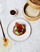 Peking duck with pancake and sauce