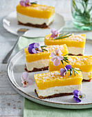 Non-baked coconut and mango slices