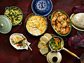 Fish pie, spring vegetables, Coq au Vin , Pasta with beans and peas