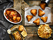 Southern fried chicken, Mac and Cheese, creole Jambalaya, cheesy cornbread