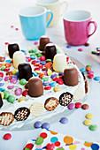 Colorful mini chocolate cakes