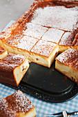 Eierschecke from Dresden (tray bake yeast dough cake with quark)