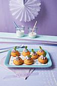 Mini eggnog Bundt cakes with raspberry cream