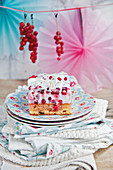 Oat and redcurrant slices with meringue