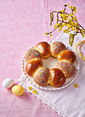 Easter wreath with lemon topping