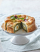 Easter spinach pie with boiled eggs